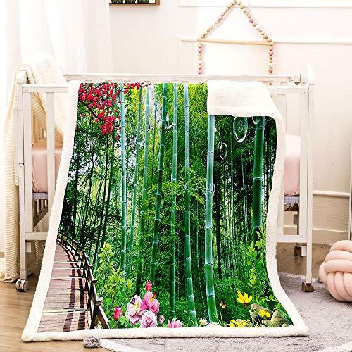 Ejiawj Mantas para Sofa Baratas Paisaje de Bosque de bambú Verde 200x220...