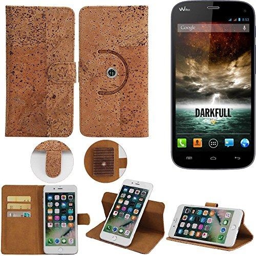 K-S-Trade® Schutz Hülle Für Wiko Darkfull Handyhülle Kork Handy Tasche Korkhülle Handytasche Wallet Case Walletcase Schutzhülle Flip Cover Smartphone
