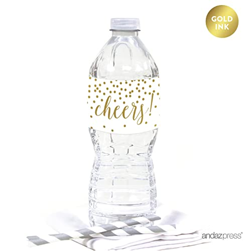 13c1b44963 Andaz Press Metallic Gold Confetti Polka Dots Party Collection, Water Bottle  Labels Stickers, Cheers