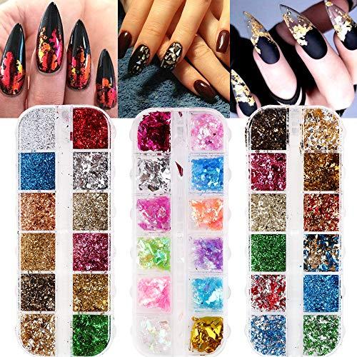 VINFUTUR 36 Colori Glitter Unghie Foil Nail Art Set di Foil per Unghie Glitter Scintillio Foglia d'Oro Brillanti Lustrini per Unghie Arte Decorazioni