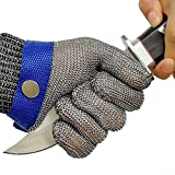 Schwer Cut Resistant Glove-Stainless Steel Wire Metal Mesh Butcher Safety Work Glove for Meat Cutting, fishing(Medium)