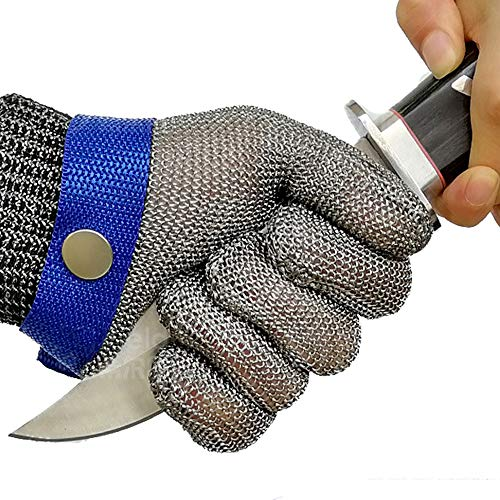 Schwer Cut Resistant Glove-Stainless Steel Wire Metal Mesh Butcher Safety Work Glove for Meat Cutting, fishing (Large)