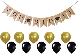 You DID IT Graduation Banner - Grad Party Supplies and Decorations - Celebrate with Gold & Black Balloons - Ready to Hang Burlap Banner - by Jolly Jon ®