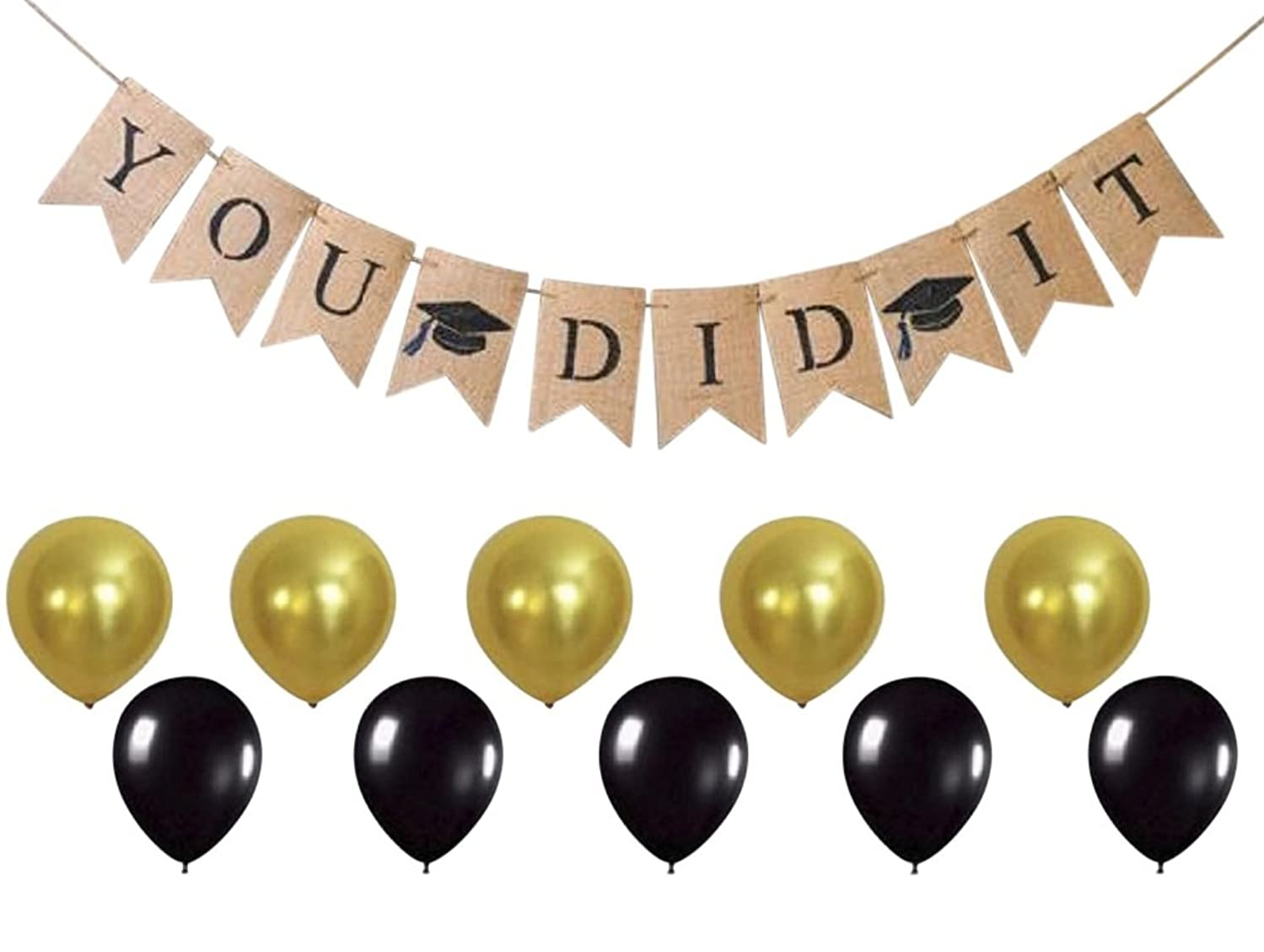 You DID IT Graduation Banner - Grad Party Supplies and Decorations - Celebrate with Gold & Black Balloons - Ready to Hang Burlap Banner - by Jolly Jon ?