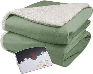 Biddeford Velour Sherpa Electric Heated Warming Blanket Full Sage Green Washable Auto Shut Off 10 Heat Settings