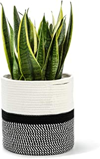 """mono living Cotton Rope Plant Basket Small 7"""" x 7"""" Modern Indoor Planter Up to 6.5"""" Flower Pot with Handles Gift Idea for ..."""