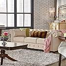 SIGNAL HILLS Knightsbridge Beige Linen Tufted Scroll Arm Chesterfield Sofa #4