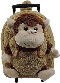 Plush Monkey Chimp Brown Furry Trolly Rolling Backpack w/Wheels