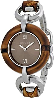 Gucci Women's Bamboo Bezel Stainless Steel Case and Bracelet Brown Dial YA132402