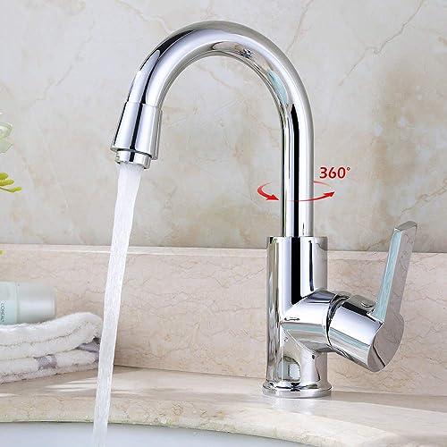 Homelody robinet cuisine chromé rotatif à 360 ° robinet salle bain mitigeur cuisine lavabo en laiton pour la cuisine ...