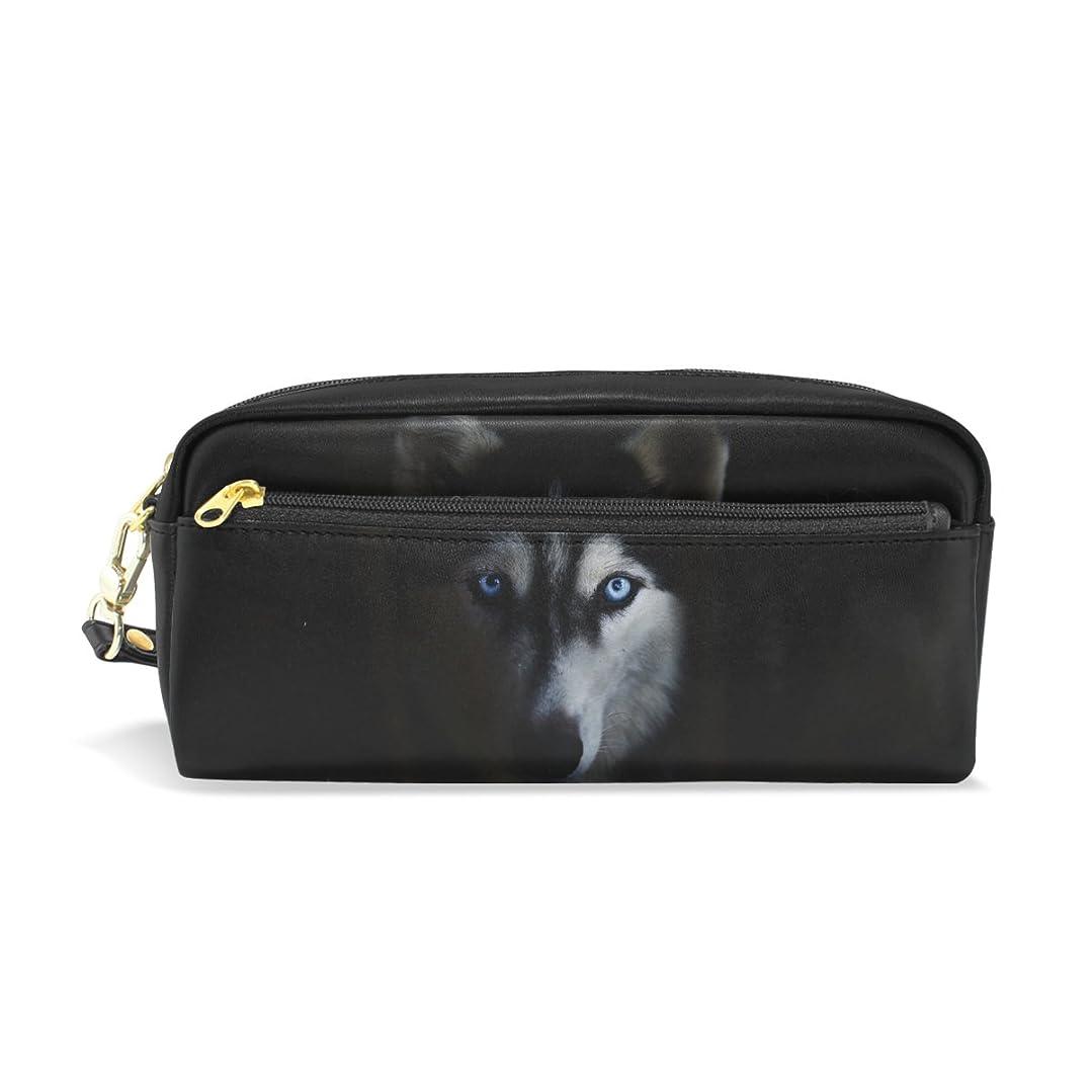 突撃極めて重要な家族AOMOKI ペンケース 化粧ポーチ 小物入り 多機能バッグ レディース ハスキー かっこいい 犬