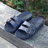 B/H Zapatillas Masaje Pie,Zapatillas de Exterior Antideslizantes, Chanclas de Masaje Resistentes al Desgaste-Azul Oscuro_44,Chanclas de Masaje Antideslizantes
