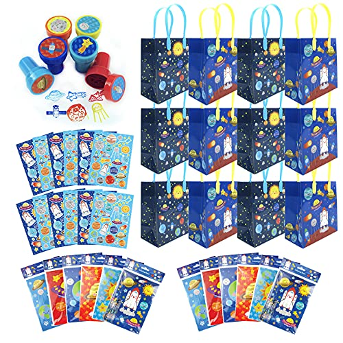 TINYMILLS Outer Space Birthday Party Assortment Favor Set of 108 pcs (12 Large Party Favor Treat Bags with Handles, 24 Self-Ink Stamps for Kids, 12 Sticker Sheets, 12 Coloring Books, 48 Crayons) Space Shuttle Rocket Ship Astronaut Party Favors