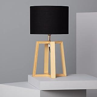 LEDKIA LIGHTING Lampe à Poser Korsade 460x250 mm Noir E27 Textile - Bois pour Décoration Salon, Chambre, Cuisine