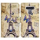 LG K51 Case,LG Reflect (LM-K500) Case,Bcov Eiffel Tower Postcard Leather Flip Case Wallet Cover with Card Slot Holder Kickstand for LG K51/LG Q51