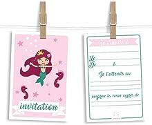 6 cartes et enveloppes invitation anniversaire | Anniversaire fille ou garçon | Thème Sirène