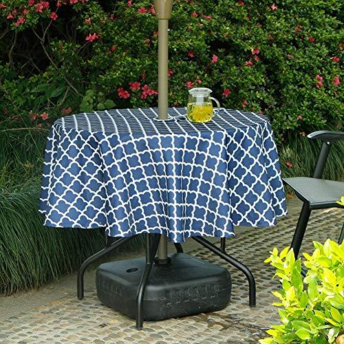 Funihut tafelkleed, waterdicht, rond, voor terras, buiten, paraplu, tafelkleed met ritssluiting en parasolgat, waterdicht en vuilafstotend, rond, 152 cm diameter