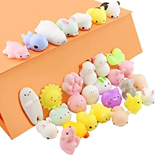 Tkonline 30PCS Lovely Soft Squeeze Mini Animal Mochi Toys, Slow Rising Squeeze Animals Kawaii Mochi Squeeze Toys Mini Soft Squeeze Toys Dumpling Dolls Stress Reliever Toys squeeze toys,squeeze animals