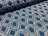 LushFabric Art Deco Damaststoff, Blumenmuster, Leinenoptik,