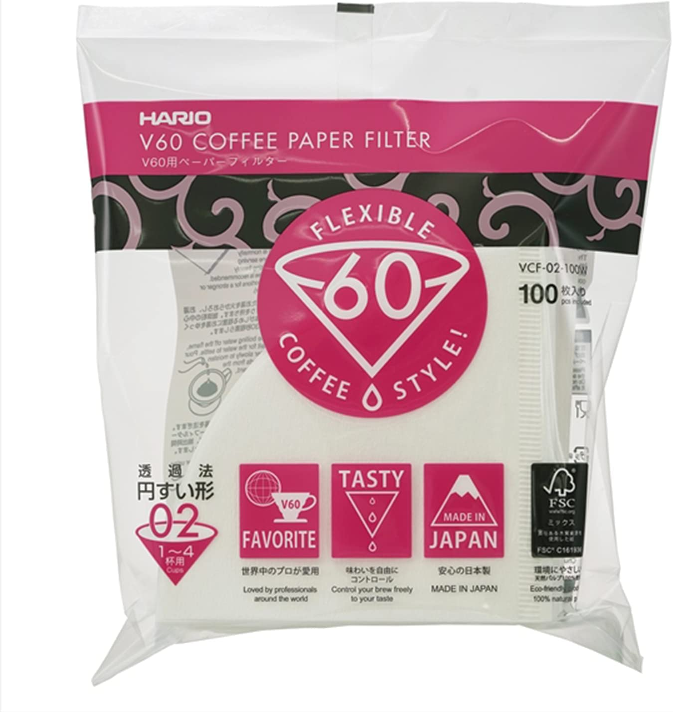 VCF-02-100W 100 pieces 1-4 cups of Hario V60 for paper filter 01W (japan import)