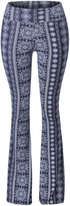 SATINA High Waisted Flare Palazzo Wide Leg Pants   Printed & Solid   Reg & Plus (XLarge, Chakra bluee)