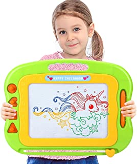Acksonse Magnetic Doodle Board for Toddlers, Travel Size Kids Magnetic Drawing Board with Pen & 4 Stamps, Large Etch A Mag...