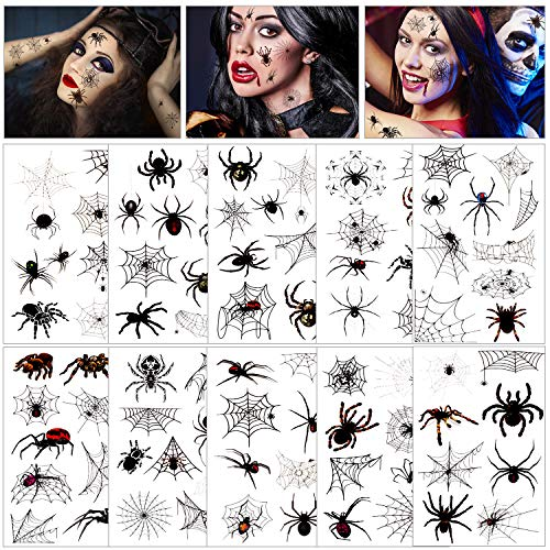 Konsait 86PCS Halloween Tattoos Spider Tattoos, Spider Web Spider Net Tattoos, Halloween Face Shoulder Arm Tattoo Stickers for Women Men Kids Boys Halloween Cosplay Accessories