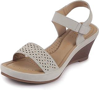 Bata Comfit Women's Leather Hook & Loop Wedge Sandals