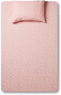 RISHAHOME Printed 180 Thread Count Cotton Bedsheet Set   Single Size (1 Bedsheet + 1 Pillow Case) Rose Fog   2 Pieces   14...