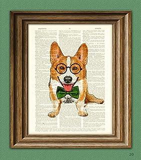 7ae93c39cadb Poindexter the Teacher's Pet Corgi with glasses and bow tie Corgi dog  original art vintage dictionary