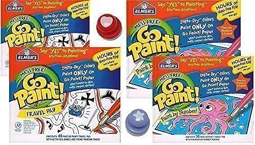 popular Elmer's Go Paint E2350CB4 Mess Free Color Wonder Drawing Drawing Drawing Paper, Coloring Pads, with Stamps, (4 pads 140 pages) Travel Set - E2350CB4 by Elmers GoPaint  precios mas baratos