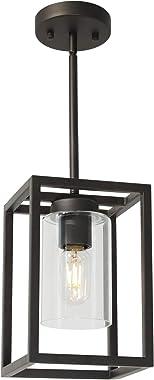 VINLUZ Modern 1-Light Cage Kitchen Island Pendant Lighting with Glass Shade Oil Rubbed Bronze Chandeliers Dining Room Lightin