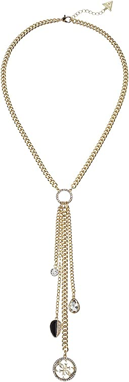 GUESS - Link Necklace with Chain Fringe Y Necklace