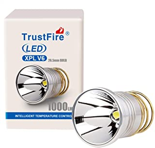 TrustFire LED Flashlight Bulbs Replacement 1000 Lumens 26.5mm V6 Smooth Reflector P60 Drop-in Lamp for Surefire 6P C2 D2 G2 Z2 Ultrafire 501B 502B