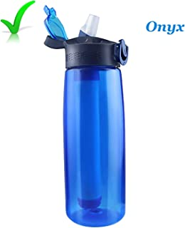 Portable Alkaline Water Bottle, Activated Carbon Filtration, Water Ionizer, Alkaline Water Filter Bottle, 65 Liter,396 GAL Lifetime Filter High PH, Alkaline Water Sport Survival Bottle