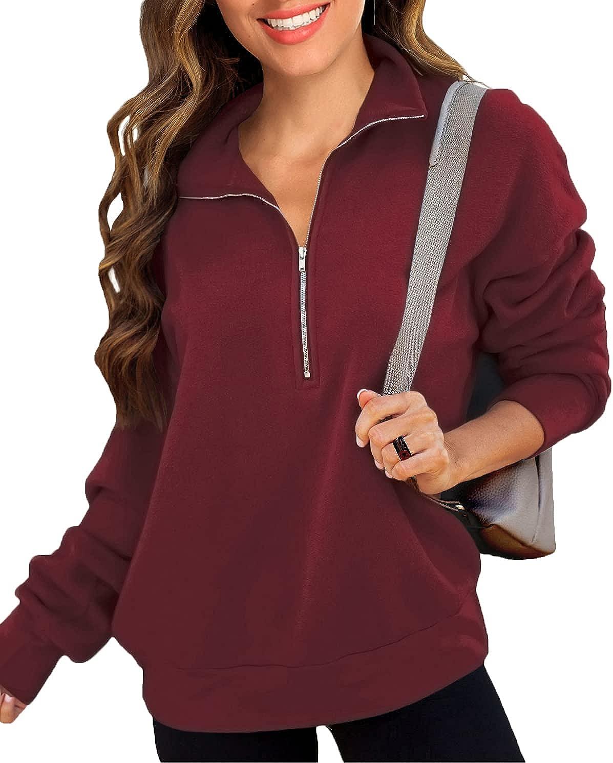 Halife Women's Casual Long Sleeve Lapel Zipper Sweatshirt Solid Loose Collar Pullover Tops