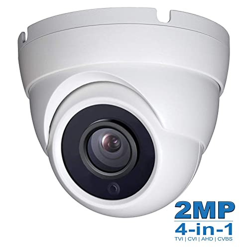 2MP Wide Angle (TVI CVI AHD) Indoor Outdoor Dome CCTV Camera, Dome Camera 1080P Day Night Vision Security IR Analog Camera, Waterproof Full HD Eyeball Cam for Home Video Surveillance (Metal, White)