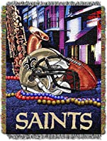 """The Northwest Company Officially Licensed NFL New Orleans Saints Home Field Advantage Woven Tapestry Throw Blanket, 48"""" x 60"""", Multi Color"""