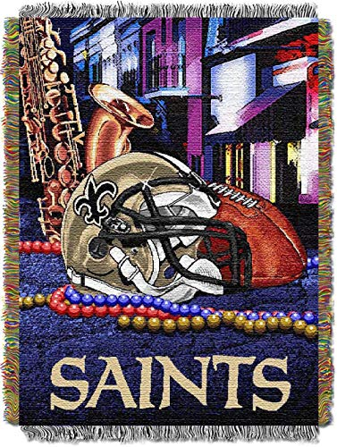 """The Northwest Company NFL New Orleans Saints """"Home Field Advantage"""" Woven Tapestry Throw Blanket, 48"""" x 60"""" , Black"""