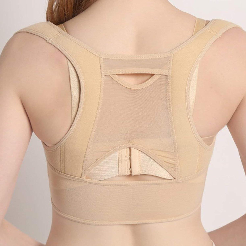 色合い好意的チーズ通気性のある女性の背部姿勢補正コルセット整形外科の背部肩背骨姿勢補正器腰部サポート-ベージュホワイトL