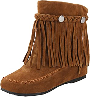 9c6e8578 RAZAMAZA Moda Zapatos de Mujer de Alta Botas con Flecos Plano