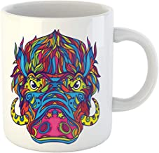 Coffee Tea Mug Gift 11 Oz Funny Ceramic Aggressive Face of Warthog in Line Coloring Book Page Angry Gifts For Family Friends Coworkers Boss Mug