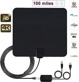SHENGDA 地デジ 室内アンテナ HDテレビアンテナ 室内 卓上 tv アンテナ 4K UHF VHF対応 100KM受信範囲 超薄型 USB式 増幅器付き 5Mケーブル(ブラック)