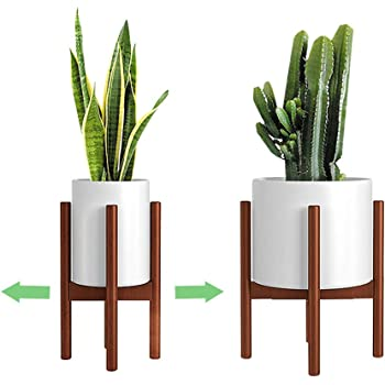 Adjustable Plant Stand (8 to 12 inches), Bamboo Mid Century Modern Plant Stand (15 inches in Height), Indoor Plant Stand, Fit 8 9 10 11 12 inch Pots (Pot & Plant Not Included), Brown