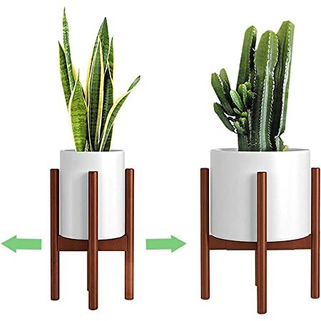 Adjustable Plant Stand (8 to 12 inches), Bamboo Mid Century Modern Plant Stand (15 inches in Height), Indoor Plant Stand, Fit 8 9 10 11 12 inch Pots (Pot & Plant Not Included) (Brown)
