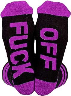Baijiaye, 3 pares de calcetines divertidos con letras con letras creativas FUCK OFF /2020 para mujer, hombre y Navidad