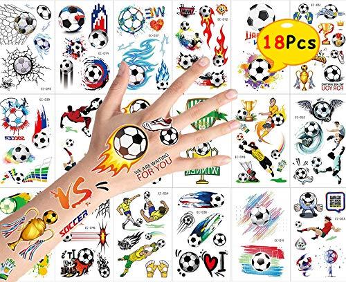 Blesser Tatouage Éphémère Enfant, Kit Tatouage Temporaire Femme Homme Fille Garçon Tatoo Football, Autocollants Enfants Stickers Cadeau Anniversaire F