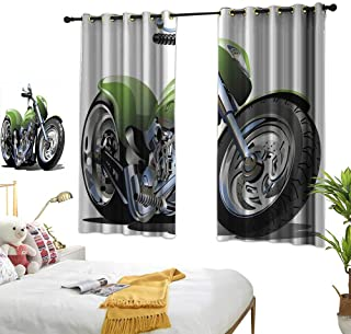Bedroom Curtains Motorcycle,Motorcycle Design with Fancy Supreme Gears and Tires Action Urban Life Print,Green Silver BedroomRoom Darkening,Blackout Curtains Room/Kid's Room W55 x L63