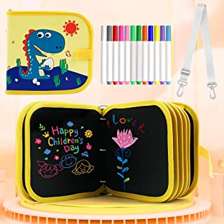2020 New Detachable Leather Erasable Drawing Pad Toys with Strap(Dinosaur), Magna Reuse PP Portable Binder Writing Board f...