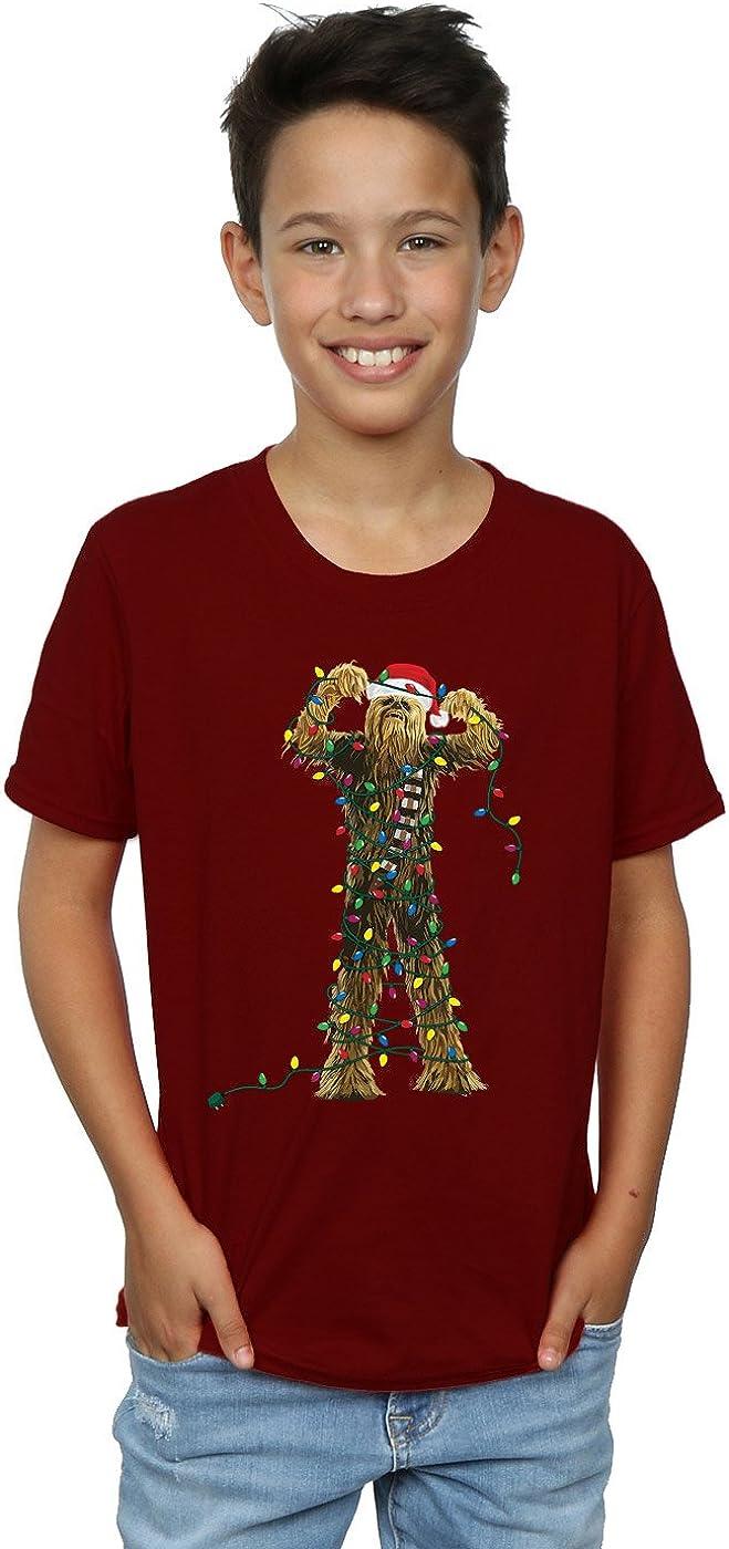 STAR WARS Boys Chewbacca Christmas Lights T-Shirt 9-11 Years Burgundy